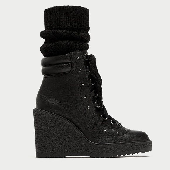 2ee8d50cb2f Zara Lace Up Leather Wedge Stud Combat Boots